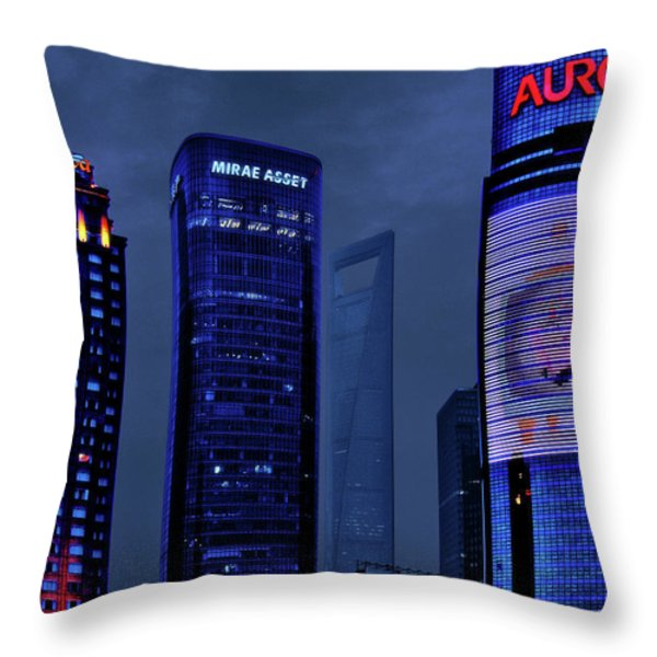 Pudong - Epitome Of Shanghai's Modernization Throw Pillow by Christine Till