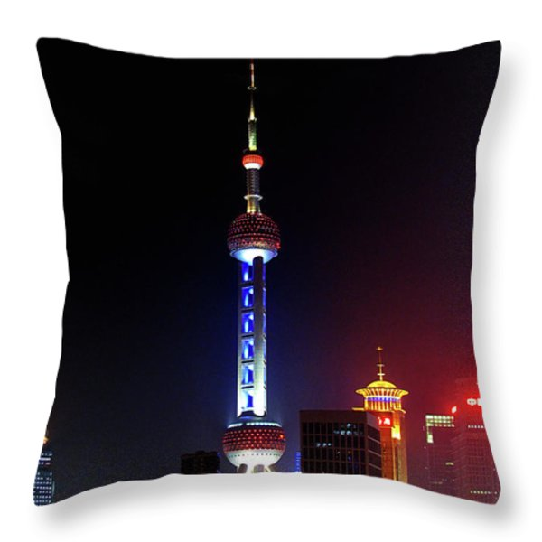 Pudong New District Shanghai - Bigger Higher Faster Throw Pillow by Christine Till