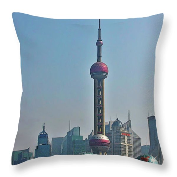 Pudong Shanghai Oriental Perl Tower Throw Pillow by Christine Till