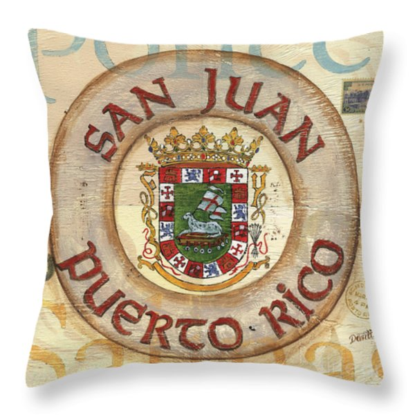 Puerto Rico Coat of Arms Throw Pillow by Debbie DeWitt