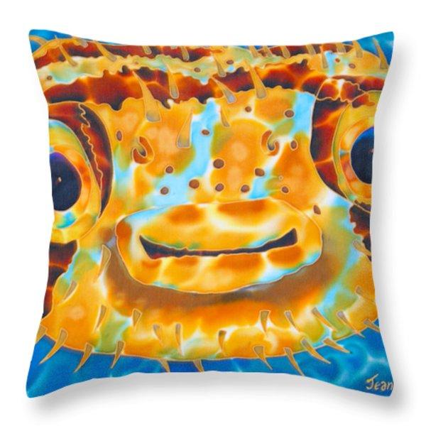 Puffer Fish Throw Pillow by Daniel Jean-Baptiste