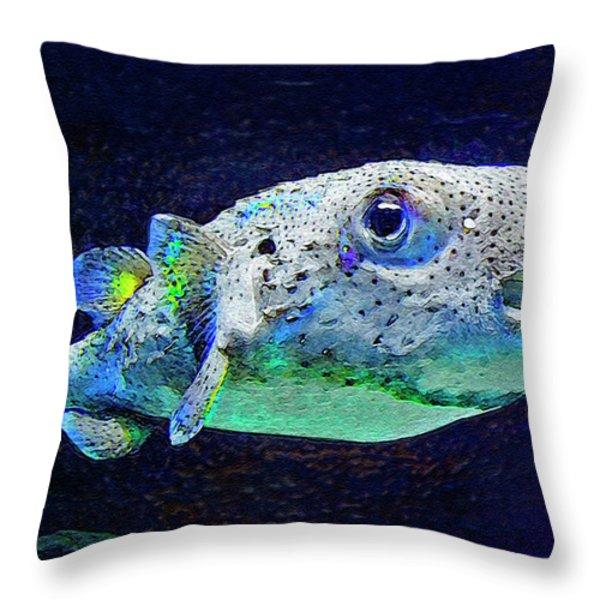 Puffer Fish Throw Pillow by Jane Schnetlage