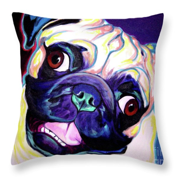 Pug - Rider Throw Pillow by Alicia VanNoy Call