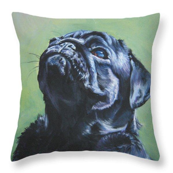 Pug Black Throw Pillow by L A Shepard
