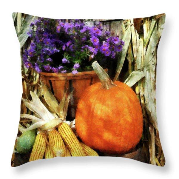 Pumpkin Corn And Asters Throw Pillow by Susan Savad