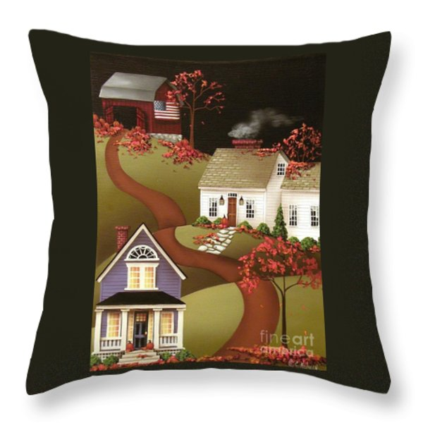 Pumpkin Harvest In Mapleton Throw Pillow by Catherine Holman