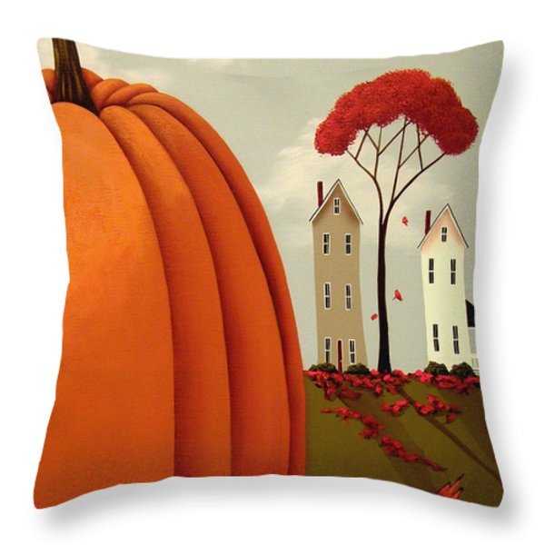 Pumpkin Valley Throw Pillow by Catherine Holman