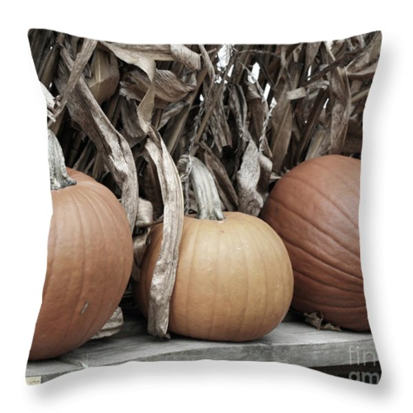 Pumpkins For Sale Throw Pillow by Smilin Eyes  Treasures