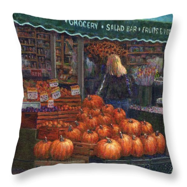 Pumpkins For Sale Throw Pillow by Susan Savad
