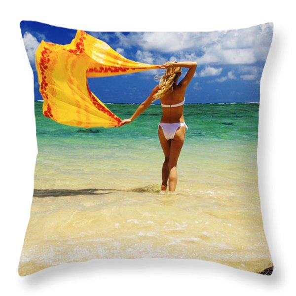 Punaluu Beach Vacation Throw Pillow by Tomas del Amo - Printscapes