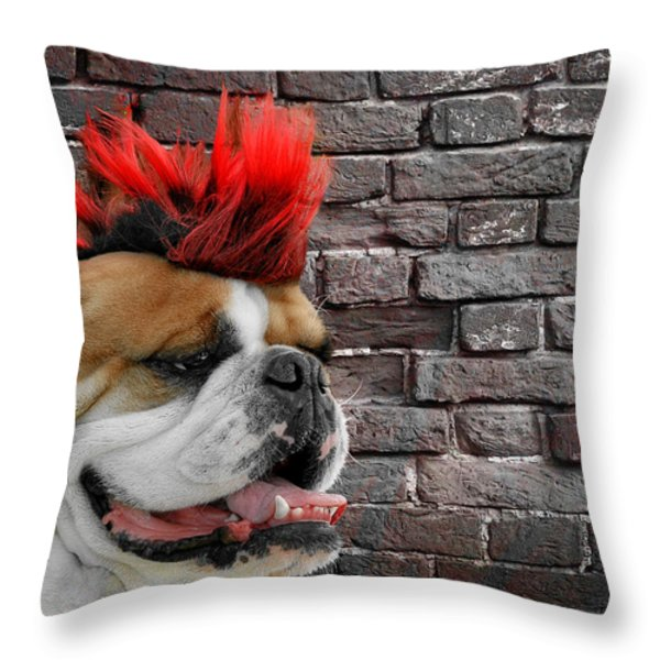 Punk Bully Throw Pillow by Christine Till