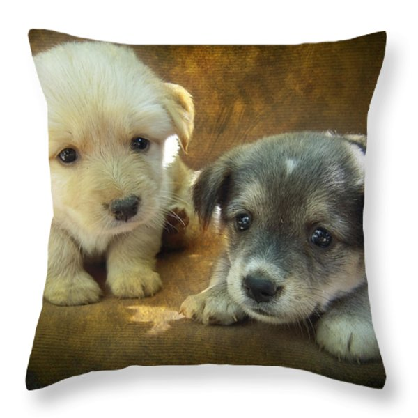 Puppies Throw Pillow by Svetlana Sewell