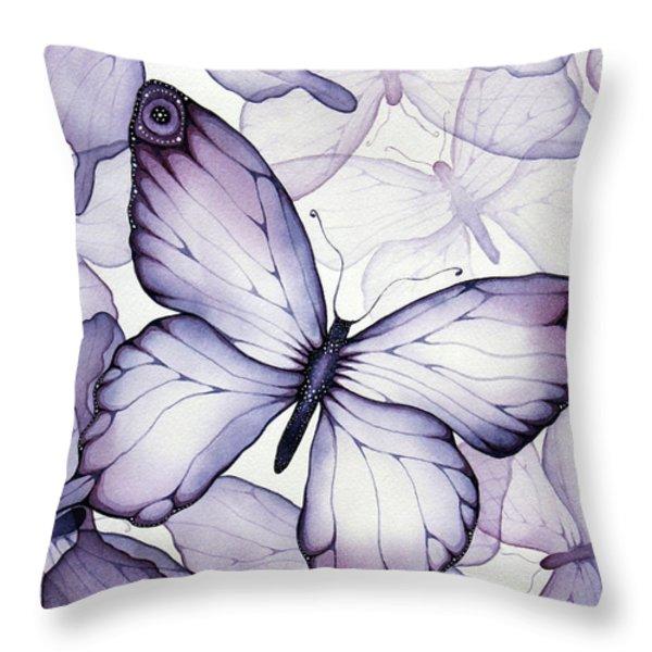 Purple Butterflies Throw Pillow by Christina Meeusen