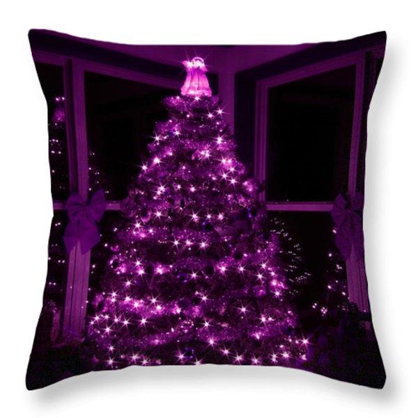 Purple Christmas Throw Pillow by Lori Deiter