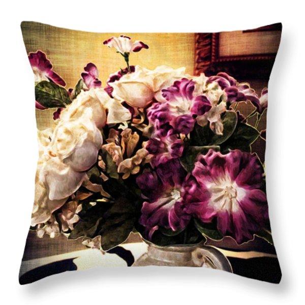 Purple Floral Arrangement Throw Pillow by Joan  Minchak