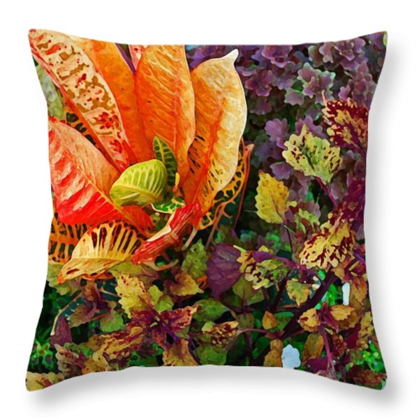 Purple Flowers Throw Pillow by Michael Thomas