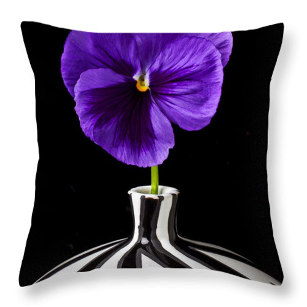Purple Pansy Throw Pillow by Garry Gay