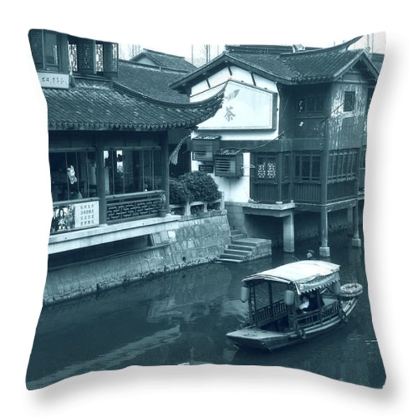 Qibao Ancient Town - A peek into the past of Shanghai Throw Pillow by Christine Till