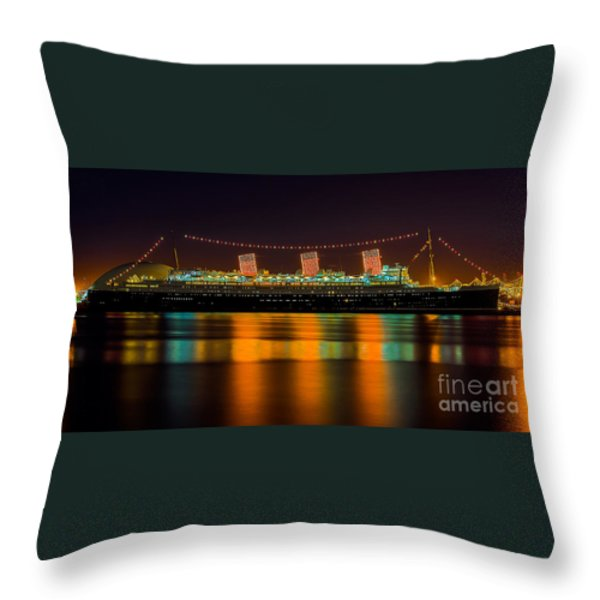 Queen Mary - Nightside Throw Pillow by Jim Carrell