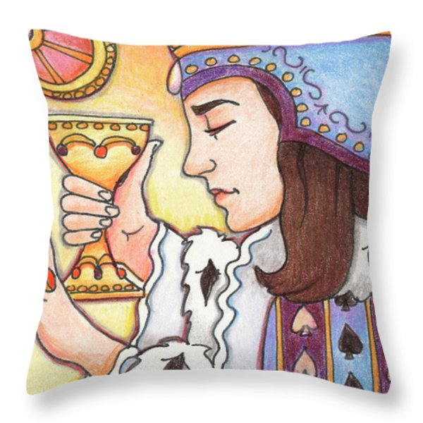 Queen of Spades Throw Pillow by Amy S Turner