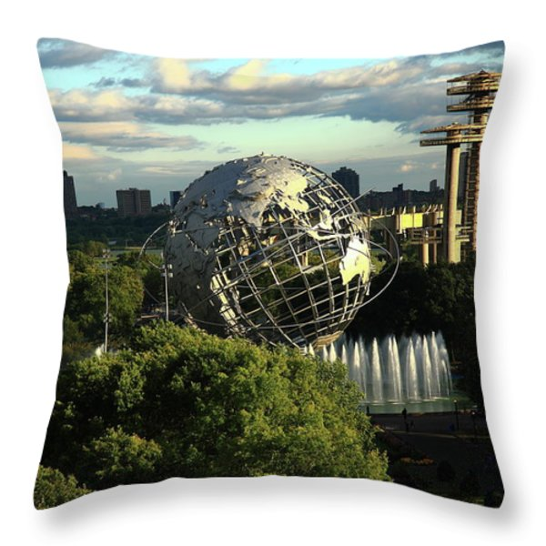 Queens New York City - Unisphere Throw Pillow by Frank Romeo