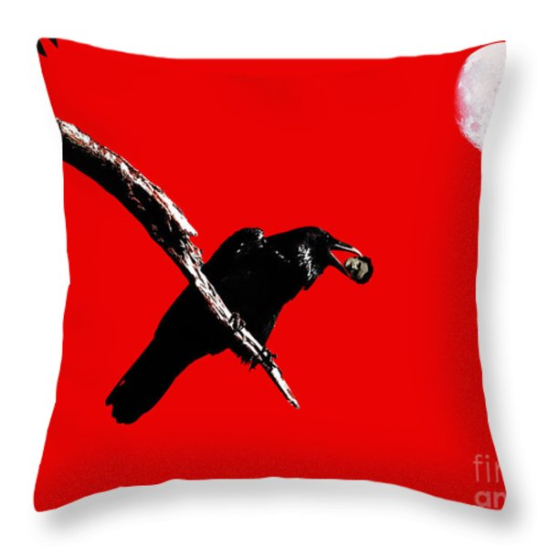 Quoth The Raven Nevermore . Red Throw Pillow by Wingsdomain Art and Photography