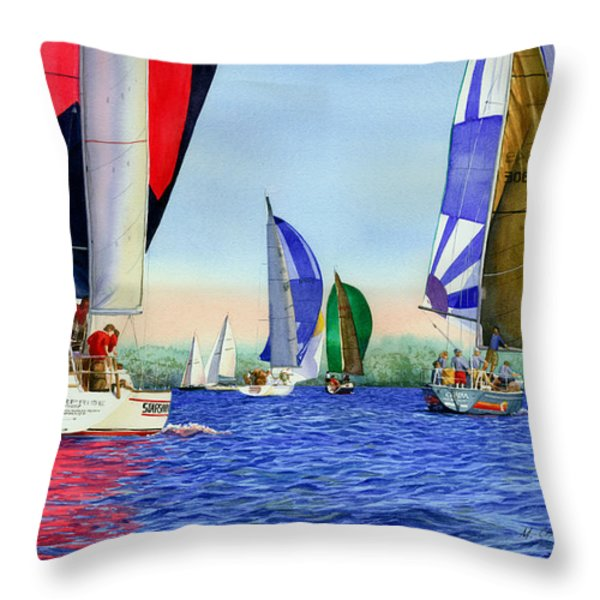 Race Night Colors Throw Pillow by Marguerite Chadwick-Juner