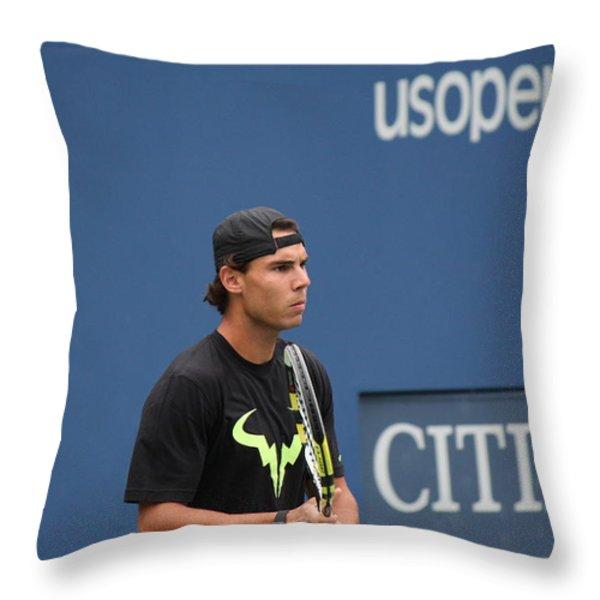 Rafael Nadal Throw Pillow by David Grant