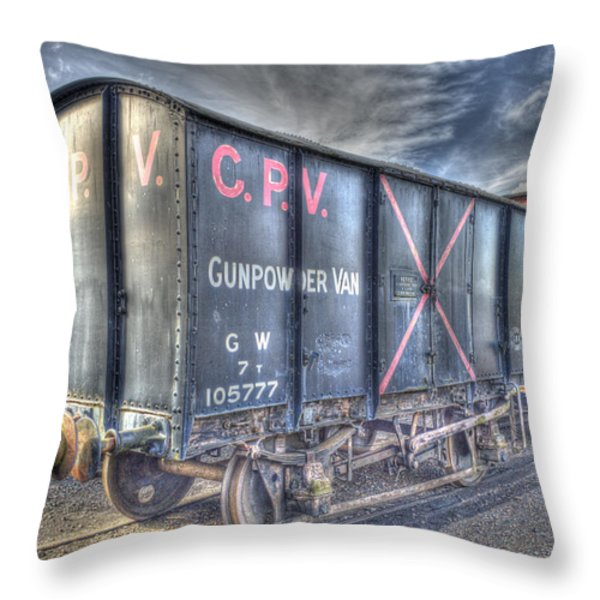 Railway Gunpowder Wagon Throw Pillow by Chris Thaxter