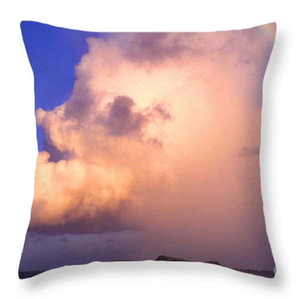 Rain Cloud and Rainbow Throw Pillow by Thomas R Fletcher
