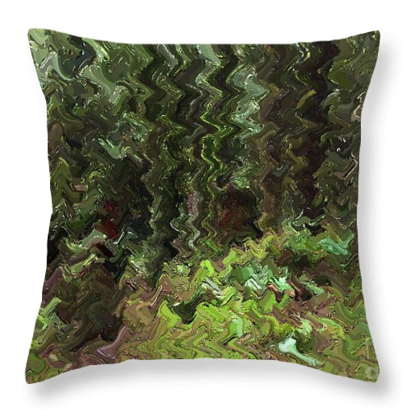 Rain Forest Abstract Throw Pillow by Sharon  Talson