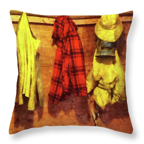 Rain Gear and Red Plaid Jacket Throw Pillow by Susan Savad
