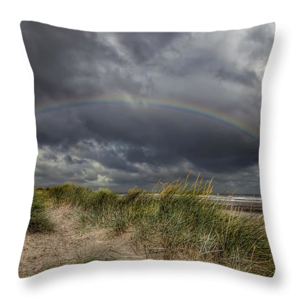 Rainbow Lighthouse Throw Pillow by Adrian Evans