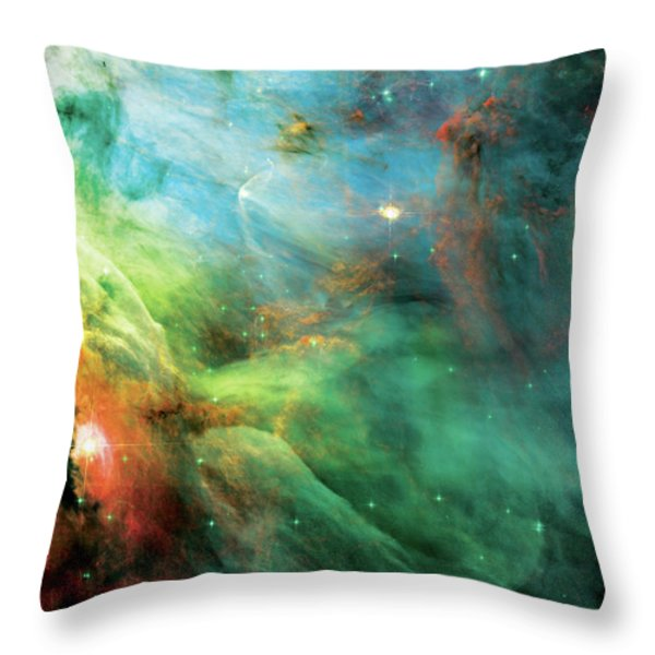 Rainbow Orion Nebula Throw Pillow by The  Vault - Jennifer Rondinelli Reilly