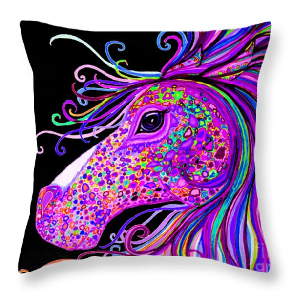 Rainbow Spotted Horse Head 2 Throw Pillow by Nick Gustafson
