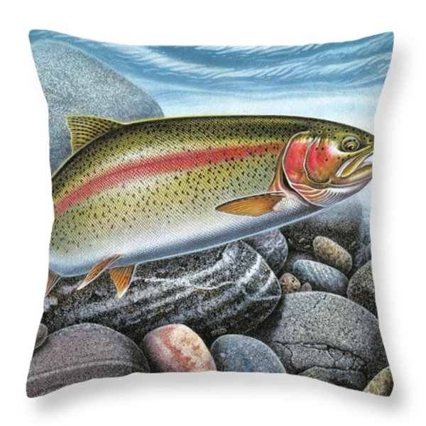 Rainbow Trout Stream Throw Pillow by JQ Licensing