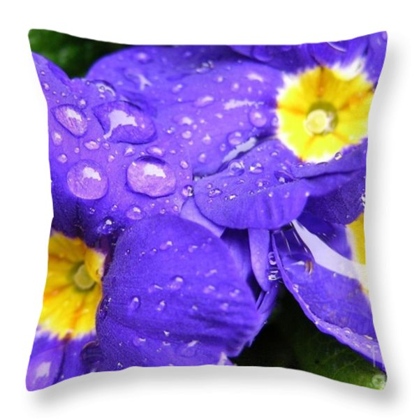 Raindrops On Blue Flowers Throw Pillow by Carol Groenen