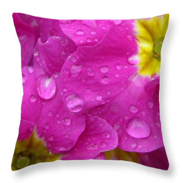 Raindrops on Pink Flowers Throw Pillow by Carol Groenen