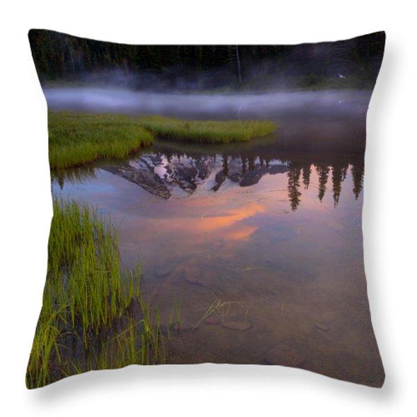 Rainier Sunrise Cap Throw Pillow by Mike  Dawson