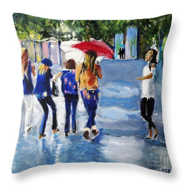Rainy Days And Mondays Throw Pillow by Judy Kay