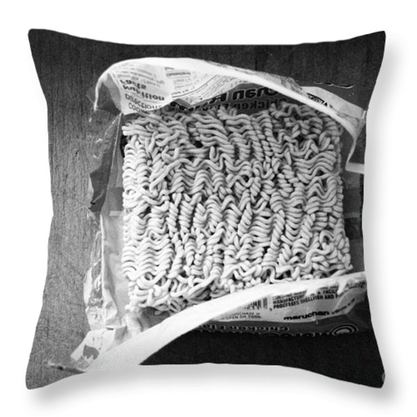 Ramen Noodles Throw Pillow by Linda Woods