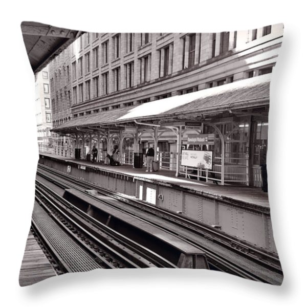 Randolph Street Station Chicago Throw Pillow by Steve Gadomski
