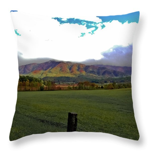 Range Neath the Mountain Throw Pillow by DigiArt Diaries by Vicky B Fuller