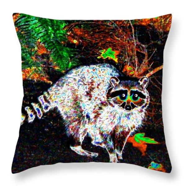 Rascally Raccoon Throw Pillow by Will Borden