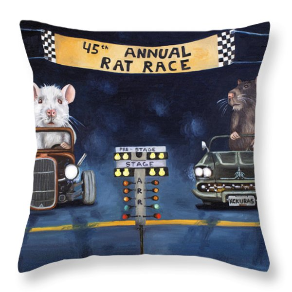 Rat Race Throw Pillow by Leah Saulnier The Painting Maniac