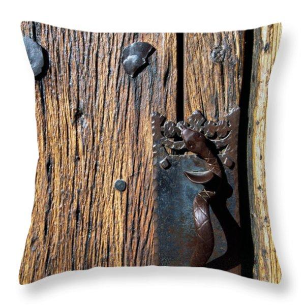 Rattlesnake Door handle Mission San Xavier del Bac Throw Pillow by Thomas R Fletcher
