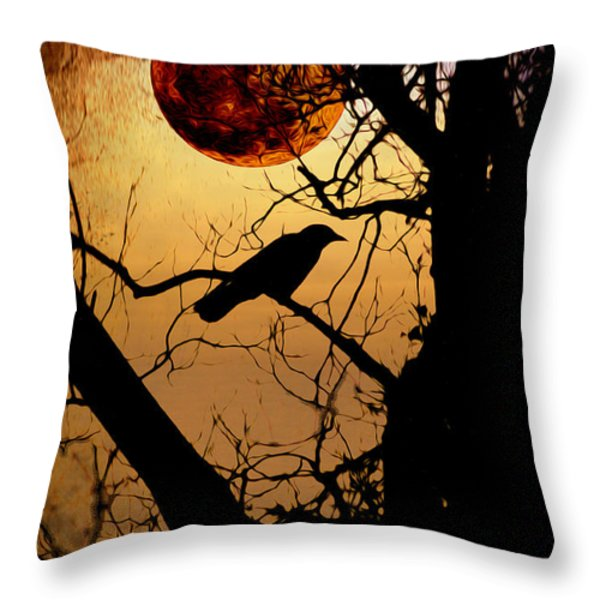 Raven Moon Throw Pillow by Bill Cannon