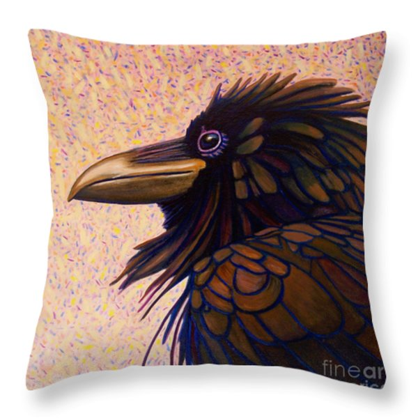 Raven Shaman Throw Pillow by Brian  Commerford