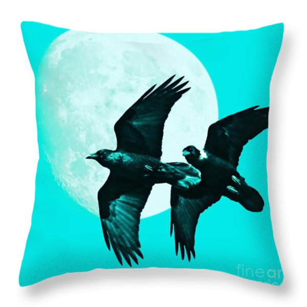 Ravens of the Moon . Cyan Square Throw Pillow by Wingsdomain Art and Photography