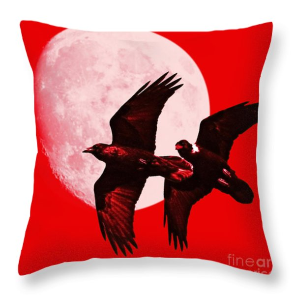Ravens Of The Moon . Red Square Throw Pillow by Wingsdomain Art and Photography